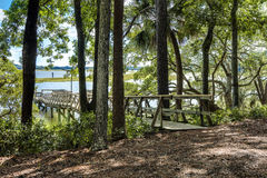 Waterfront property with dock Stock Photo