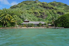Waterfront property tropical home French Polynesia Stock Photo