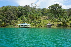Waterfront property with tropical vegetation Royalty Free Stock Image