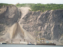 Waterfront quarry dirt pit Stock Images