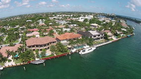 Waterfront real estate in Boca Raton aerial view stock video