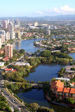 Waterfront real estate properties. Aerial view of water front homes and apartments, view to the hills Stock Photos