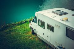 Waterfront RV Camping royalty free stock photography