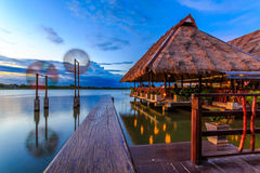 Waterfront restaurant. Medium with beautiful surroundings Royalty Free Stock Photo