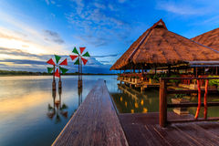Waterfront. Restaurant medium with beautiful surroundings royalty free stock image
