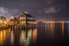 Pier Cafe at Seaport Village, San Diego, California night shot. Pier Cafe at seaport village, San Diego, California. This restaurant has been a landmark with royalty free stock photo