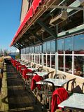 Waterfront restaurant patio in Richmond, Canada. Waterfront restaurant patio in Richmond, British Columbia, Canada Royalty Free Stock Images