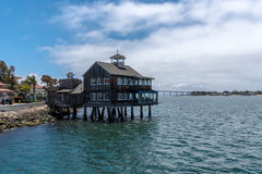 Pier Cafe at Seaport Village, San Diego, California during the day Stock Photography