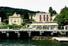 Waterfront restaurant. View of waterfront restaurant on Lago Maggiore in Italy Stock Photos