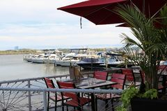 A waterfront restaurant Stock Photo