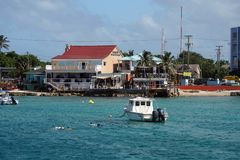 Restaurants along the waterfront on Grand Cayman royalty free stock photo
