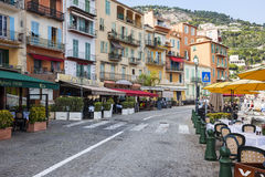 Waterfront restaurants in Villefranche-sur-Mer Royalty Free Stock Photo