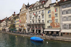 Waterfront of Reuss river, Lucerne, Switzerland Royalty Free Stock Photography