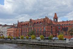 Waterfront on river Brda in Bydgoszcz. BYDGOSZCZ, POLAND - CIRCA APRIL 2016: Waterfront on River Brda Royalty Free Stock Photos