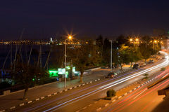 Road on Nile in Aswan. Waterfront road on the River Nile in Aswan, Egypt Stock Photo