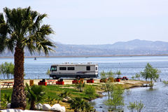 Waterfront RV Camping royalty free stock photos