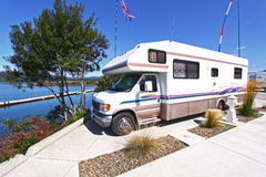 Waterfront RV Camping royalty free stock photo