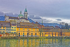 Waterfront of Saint Ursus Cathedral in Solothurn Royalty Free Stock Photography
