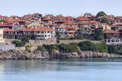 Waterfront in seaside resort Sozopol town, Bulgaria, Black sea Royalty Free Stock Photo