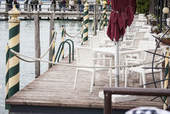 Waterfront seats Stock Photo