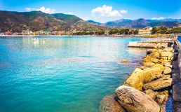 Waterfront of Sestri Levante Italy royalty free stock photo
