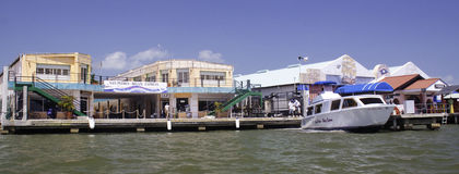 Waterfront shops in Belize City, Belize Royalty Free Stock Photos