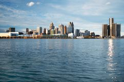 Detroit Panoramic Skyline Shot From Canada November 2017. Waterfront shot of Detroit from across the Detroit River and taken from Canada, November, 2017 Royalty Free Stock Photo
