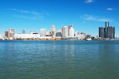 Detroit Panoramic Skyline Shot From Canada November 2017. Waterfront shot of Detroit from across the Detroit River and taken from Canada, November, 2017 Stock Images