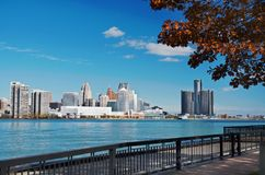 Detroit Panoramic Skyline Shot From Canada November 2017. Waterfront shot of Detroit from across the Detroit River and taken from Canada, November, 2017 Stock Image