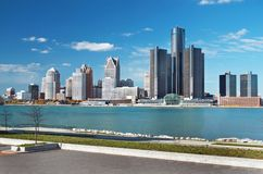 Detroit Panoramic Skyline Shot From Canada November 2017. Waterfront shot of Detroit from across the Detroit River and taken from Canada, November, 2017 Royalty Free Stock Images