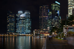 Waterfront of Singapore overlooking the Central District Royalty Free Stock Images