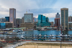 Waterfront of Skyline from Federal Hill Baltimore, Maryland look royalty free stock images