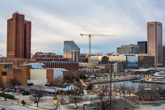 Waterfront of Skyline from Federal Hill Baltimore, Maryland look stock photography