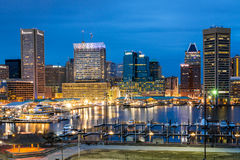 Waterfront of Skyline from Federal Hill Baltimore, Maryland look. Ing towards the Inner Harbor royalty free stock photo