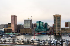 Waterfront of Skyline from Federal Hill Baltimore, Maryland look stock images