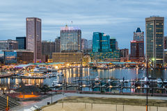 Waterfront of Skyline from Federal Hill Baltimore, Maryland look royalty free stock photography