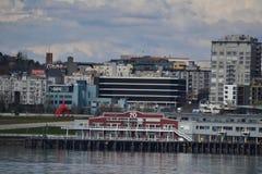 Waterfront and Skyline, Seattle, Washington Stock Photos