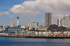 Waterfront and Skyline, Seattle, Washington. Seattle's waterfront and skyline as viewed from WSDOT ferry. Space Needle off to the left. March 2013 Stock Photo