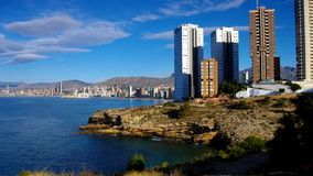 Waterfront skyscrapers and beach in Benidorm, Costa Blanca stock video footage
