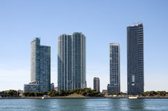 Waterfront skyscrapers in Miami Royalty Free Stock Photography