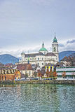 Waterfront and St Ursus Cathedral in Solothurn Royalty Free Stock Photo