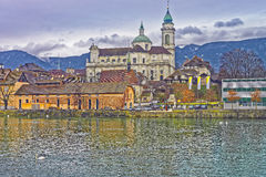 Waterfront of St Ursus Cathedral in Solothurn Royalty Free Stock Photo