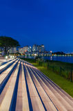 Waterfront step by water in Singapore. Waterfront step in public space by water at new national stadium in Singapore royalty free stock photos