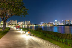 Waterfront step by water in Singapore. Waterfront step in public space by water at new national stadium in Singapore stock images
