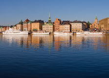Waterfront in Stockholm. Waterfront with boats in Stockholm Old Town stock photos