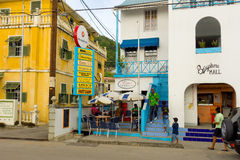 Waterfront stores at port elizabeth in the grenadines Stock Photography
