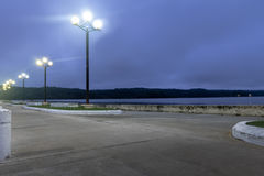 Waterfront street at night - Flores, Peten, Guatemala Royalty Free Stock Images