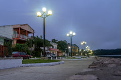 Waterfront street at night - Flores, Peten, Guatemala Stock Images