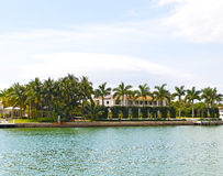 Waterfront suburb with palm trees of Miami, Florida Royalty Free Stock Photo