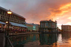 Waterfront in sunset. Exotic waterfront in sunset in Port Louis, Mauritius Royalty Free Stock Photos